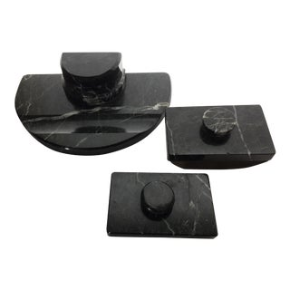 Early 20th Century Antique Verde Marble Double Inkwell Desk Set - 3 Pieces For Sale