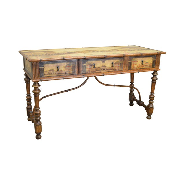 Chinese Hand Painted Large Faux Bamboo Hall Table or Sideboard For Sale - Image 11 of 11