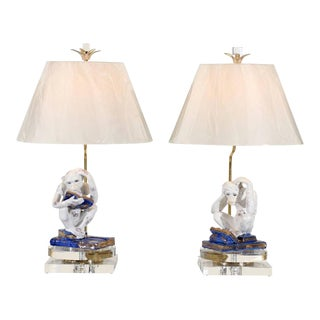 Scholary Pair of Vintage Italian Monkey Sculptures as Custom Lamps For Sale