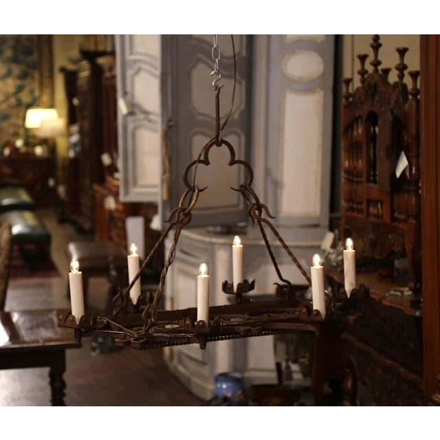 Early 20th Century French Iron Six-Light Flat Bottom Island Chandelier For Sale In Dallas - Image 6 of 10