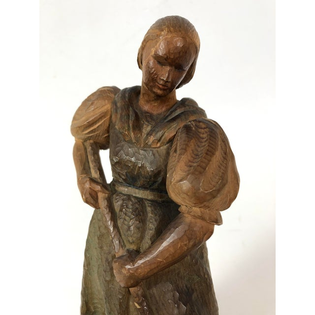 Art Deco Carved Wood Sculpture of Woman With Rake For Sale In Los Angeles - Image 6 of 7