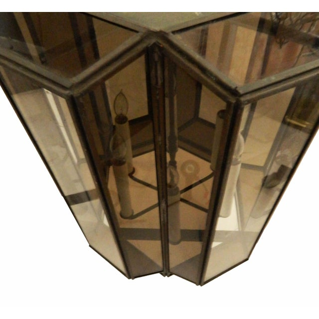 Vintage Brass Hanging Lanterns - Pair For Sale - Image 4 of 8