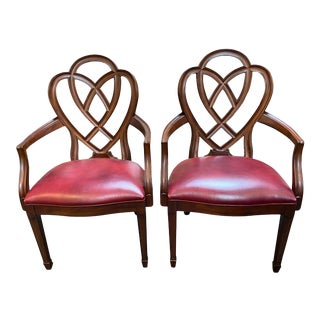 Ethan Allen Hepplewhite Ribbon Back Arm Chairs - a Pair For Sale