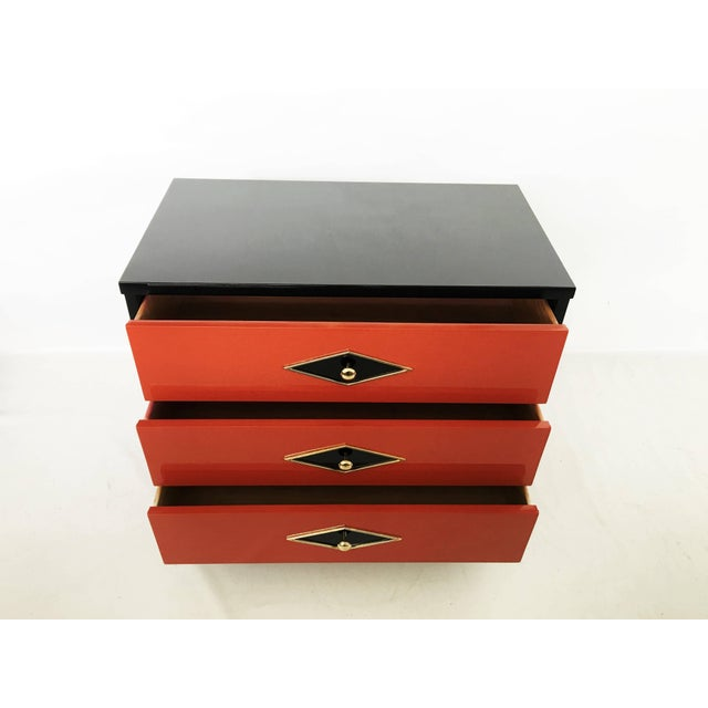 Stunning Pair of Neoclassical Lacquered Chests or Commodes For Sale - Image 9 of 10