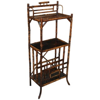 19th Century English Bamboo Étagère with Magazine Stand For Sale