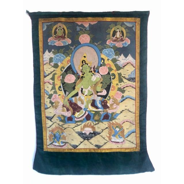 Tan Vintage Buddhist Tibetan Thangka Hand Painted For Sale - Image 8 of 8