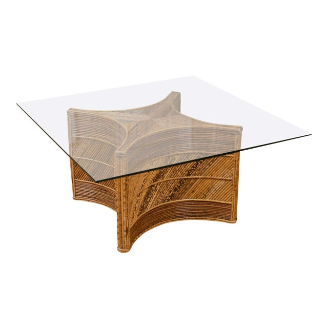 Elegant Vintage Bamboo Coffee Table For Sale