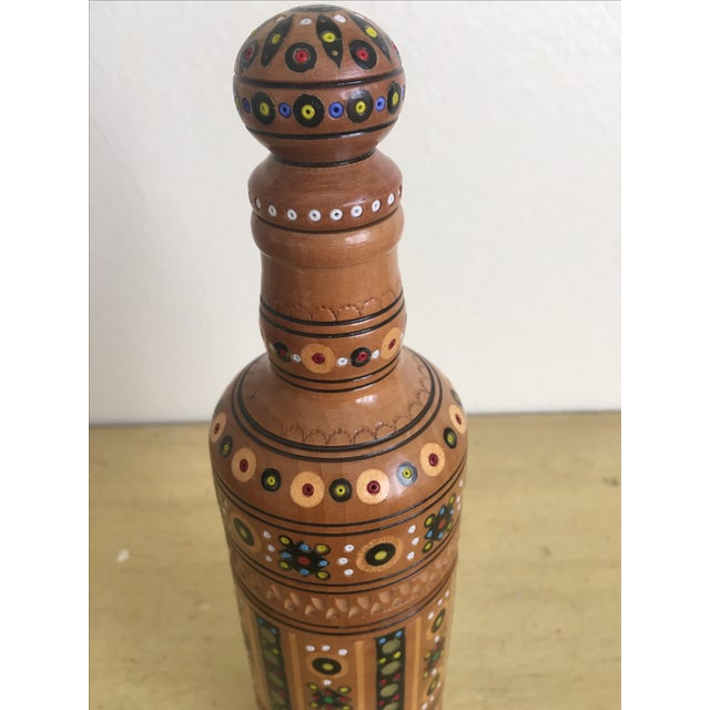 Bohemian Handmade Gypsy Wooden Bottle - Image 3 of 6