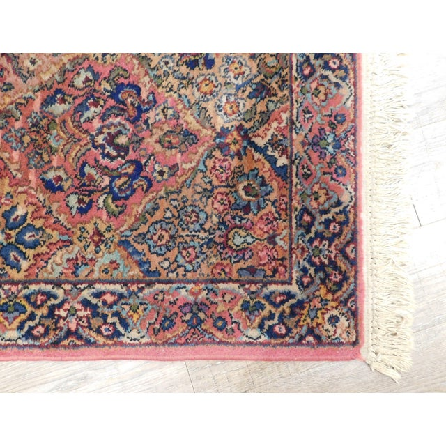 Textile Karastan Kirman Fringed Rug #717 4' x 2' Salmon Pink Background Area Throw Rug For Sale - Image 7 of 13