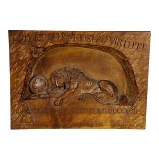 1900 Swiss Lion of Lucerne Relief Carving For Sale