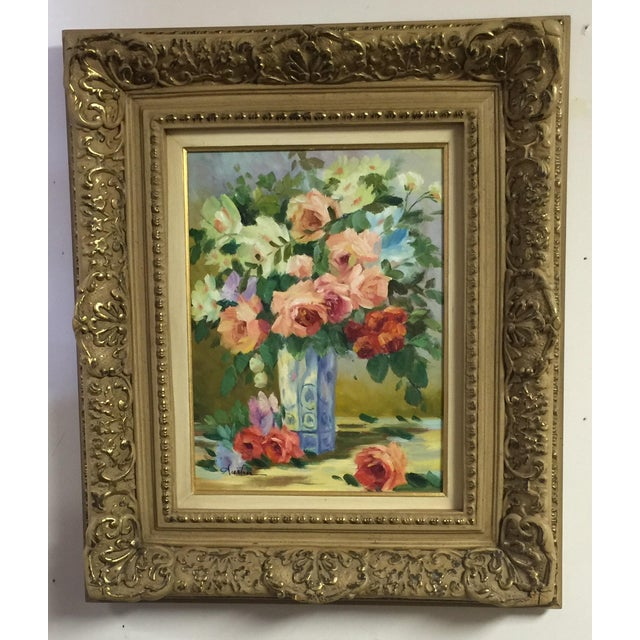 Oil on Canvas Floral Still Life Painting - Image 2 of 4