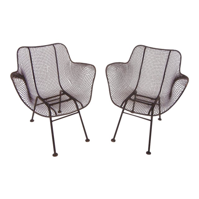 Russell Woodard Mid-Century Modern Wrought Iron & Mesh Chairs For Sale