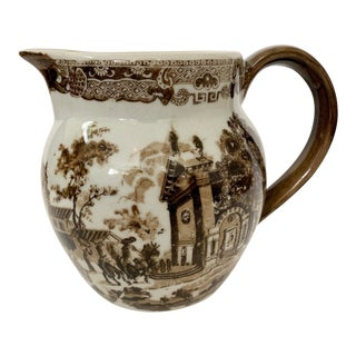 Vintage Ironware Brown Transferware Pitcher For Sale