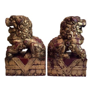 1900s Chinese Carved Wooden Foo Dogs - a Pair