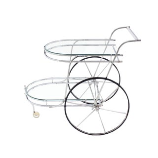 Large Wheel Design Chrome and Glass Tea Bar Cart For Sale