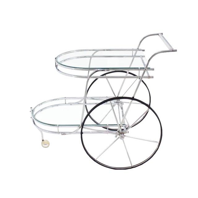 Large Wheel Design Chrome and Glass Tea Bar Cart For Sale