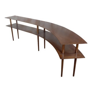 1960s Mid Century Modern Walnut Two Tier Curvy Console -Rare For Sale