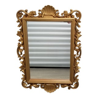 1980's Art Deco Revival Gold Shell Motif Wall Mirror For Sale
