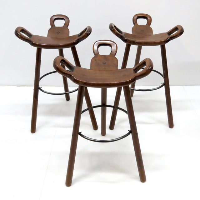 "1970s Vintage Confonorm Brutalist ""Marbella"" Bar Stools- Set of 3 For Sale - Image 10 of 11"