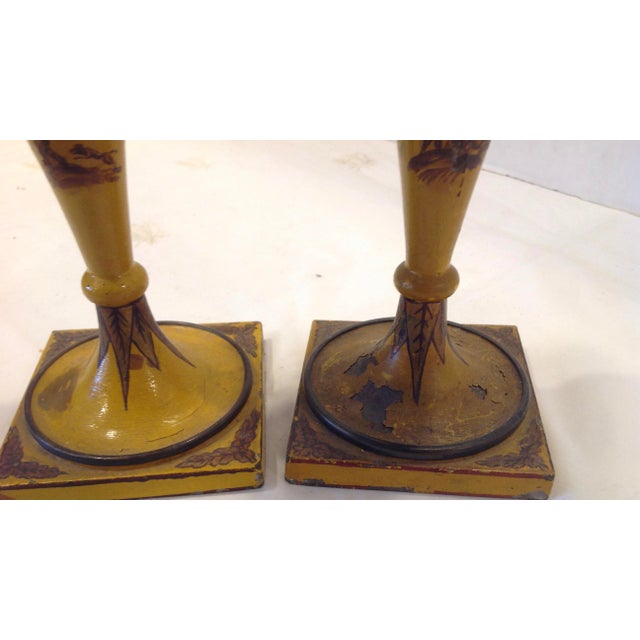 19th Century French Tole Candlesticks - a Pair For Sale - Image 11 of 13