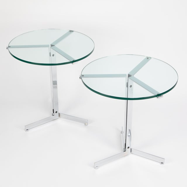 "Mid-Century Modern 1970s Hans Eichenberger ""Alpha"" Side Tables in Chrome and Glass - a Pair For Sale - Image 3 of 12"