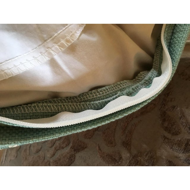 Fabric Aqua Houndstooth Pillow Covers - A Pair For Sale - Image 7 of 13