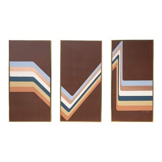 1970s Vintage Lee Reynolds Modern Abstract Triptych Painting - 3 Pieces