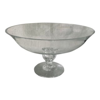 Tiffany Crystal Glass Footed Pedestal Bowl For Sale