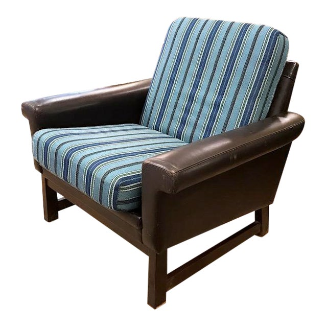 Mid Century Leather Chair With Striped Canvas For Sale