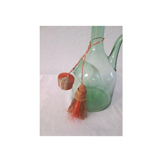 Vintage Italian Green Blown Glass Wine Carafe - Image 7 of 8