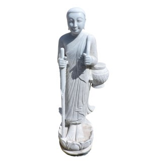 Solid White Alabaster Burmese Traveling Monk For Sale