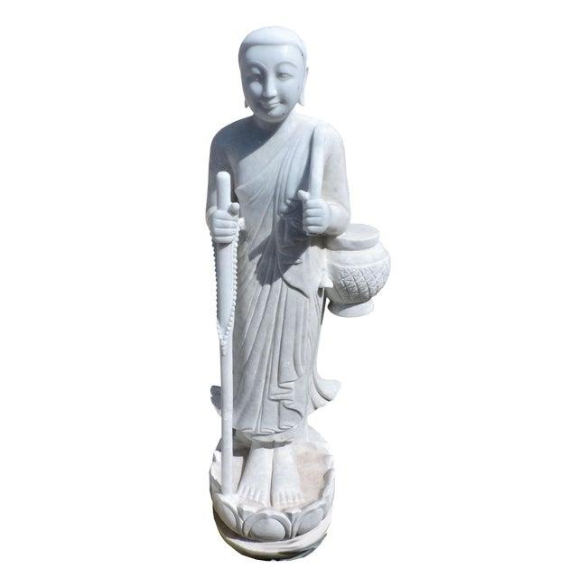 Solid White Alabaster Burmese Traveling Monk For Sale
