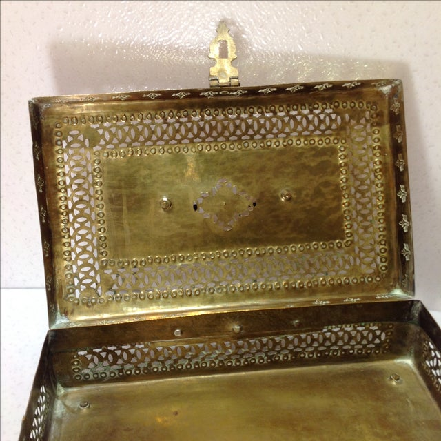Ornate Vintage Hinged Brass Box - Image 8 of 10