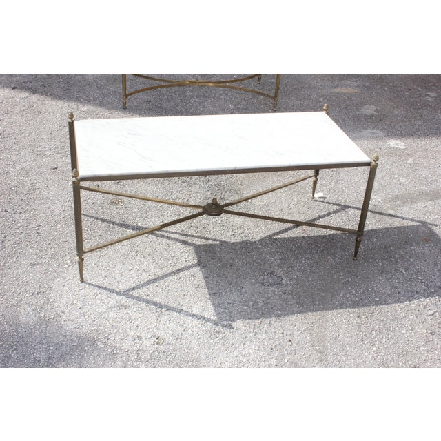 Gold Long Maison Jansen Coffee Or Cocktail Table Bronze Rectangular With Marble Top Circa 1940s For Sale - Image 8 of 11