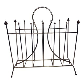 Mid-Century Modern Hollywood Regency Gold Magazine Holder Rack For Sale