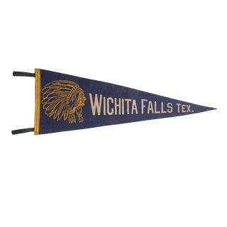 Vintage Wichita Falls Tex. Felt Flag Pennant For Sale