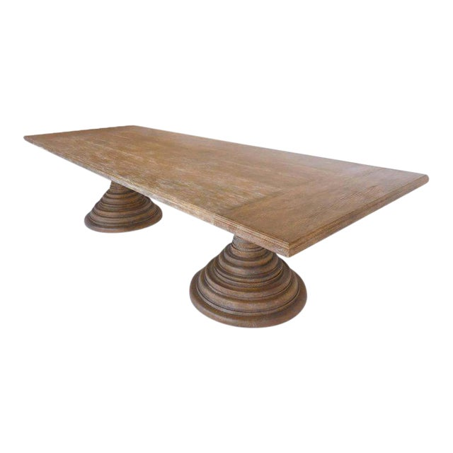 Dos Gallos Custom Oakwood Double Pedestal Table With Rectangular Top For Sale