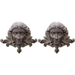 Cast Iron Fire Dogs - A Pair For Sale