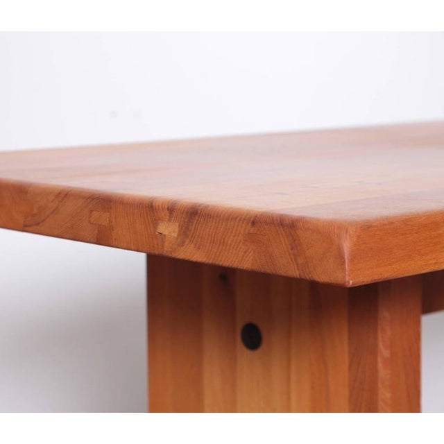 Large Pierre Chapo T19 Dining Table in Solid Elm For Sale - Image 6 of 8