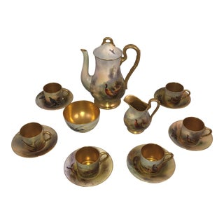 Royal Worcester James Stinton Game Birds Demitasse Coffee Service, Early 20th C. - 13 Pc. Set For Sale