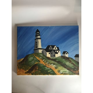 """Late 20th Century Vintage """"Montauk Lighthouse"""" Acrylic Painting Preview"""