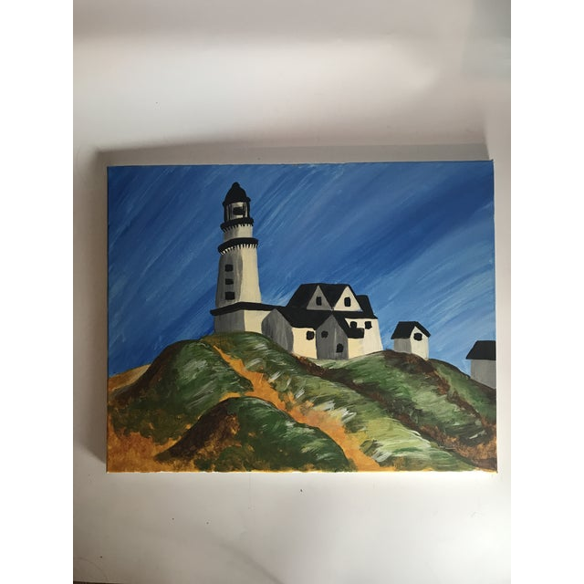 Perfect for a beach house this painting of the famous Montauk Lighthouse has a folk art sensibility. I love how the light...