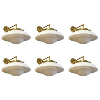 Vintage Modern Milk Glass on Brass Sconces For Sale