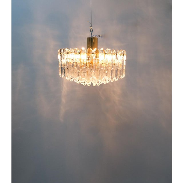 j.t. Kalmar Palazzo Chandelier Gold Brass Glass Lamp, Austria 1960 For Sale - Image 10 of 12