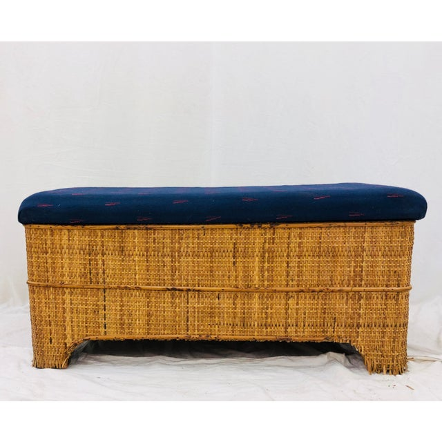 Adirondack Antique Woven Bamboo Blanket Bench For Sale - Image 3 of 10