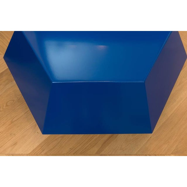 Minimalism Lacquered Navy Faceted Cocktail Table For Sale - Image 3 of 6