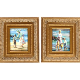 Pasargad Ny Hand Painted Oil on Canvas Mother & Children - a Pair For Sale