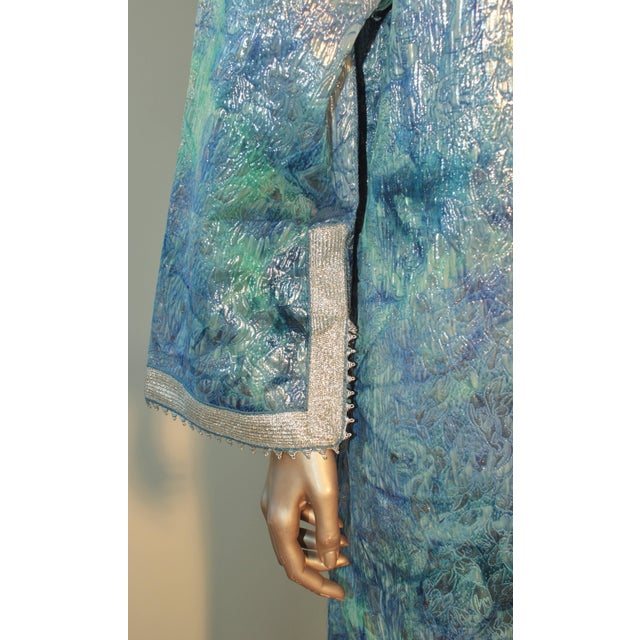 Moroccan Caftan Maxi Dress Brocade Aquamarine Blue and Silver Size M to L For Sale - Image 4 of 11