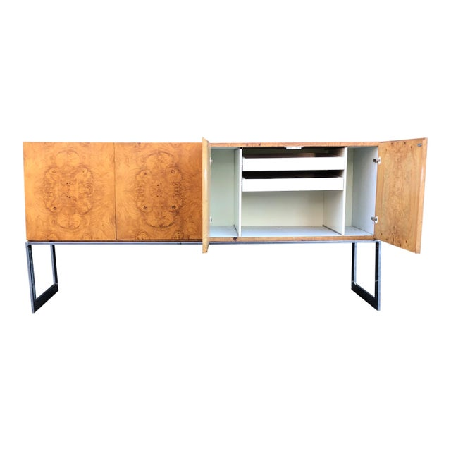For sale I have a beautiful Milo Baughman for Thayer Coggin Sideboard/credenza in bookmatched Olive Burlwood veener on a...