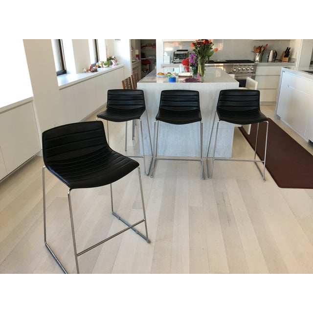 Black Leather Counter Stools by Arper - Set of 4 - Image 3 of 7